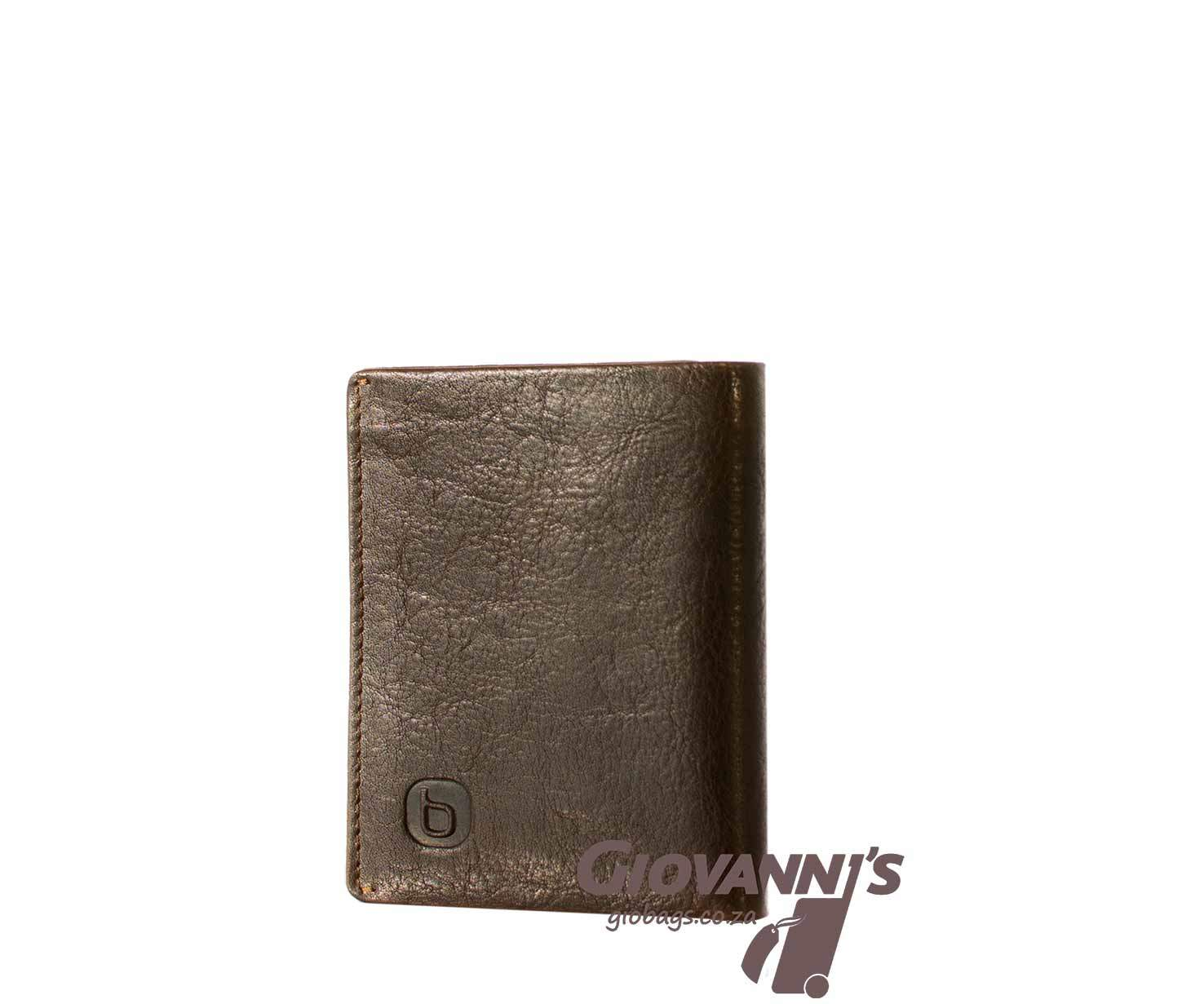 Giobags Brando Leather East Wood Tri Fold Leather Wallet