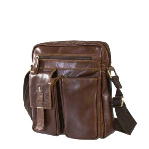 Multi Pocket Leather Sling Bag