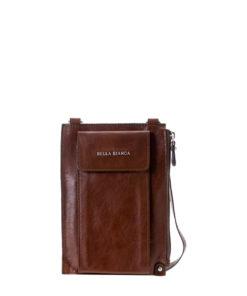 Bella Bianca Minimalist Leather Crossbody Bag - Brown